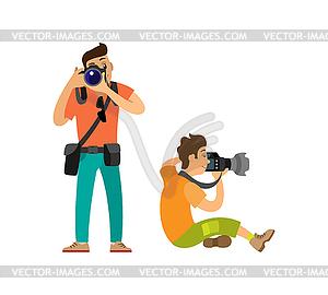 Professional Photographers Taking Photos Cameras.