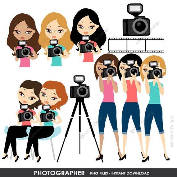 Woman Photographer Clip Art, Photographer Clipart Set.