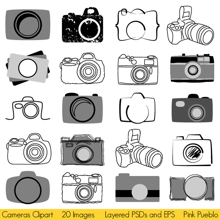 Cameras Clipart, Photography Logo Elements, Layered Editable PSDs.