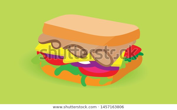 Sandwich Flat Illustration Clipart Design Stock Vector (Royalty Free.