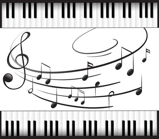 Background template with piano keyboard and music notes.