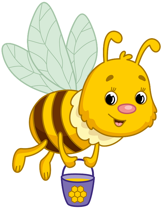 Bee carrying honey clipart. Free download..