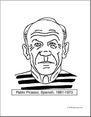 Clip Art: Artists: Pablo Picasso (coloring page) I abcteach.com.