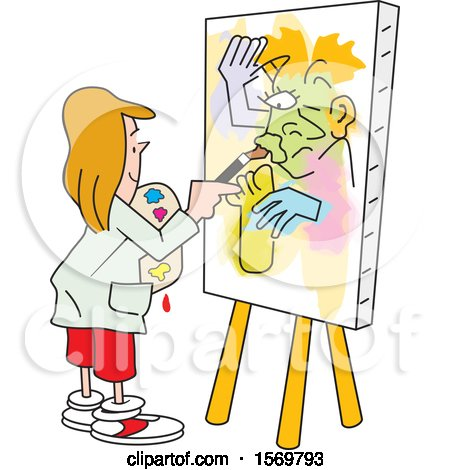 Clipart of a Girl Painting Art on Canvas, No Picasso.