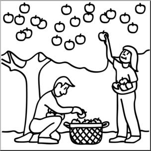 Clip Art: Kids Picking Apples 01b B&W I abcteach.com.