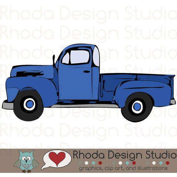 Vintage Pickup Truck Full Side Stamp Digital Clip Art Retro.