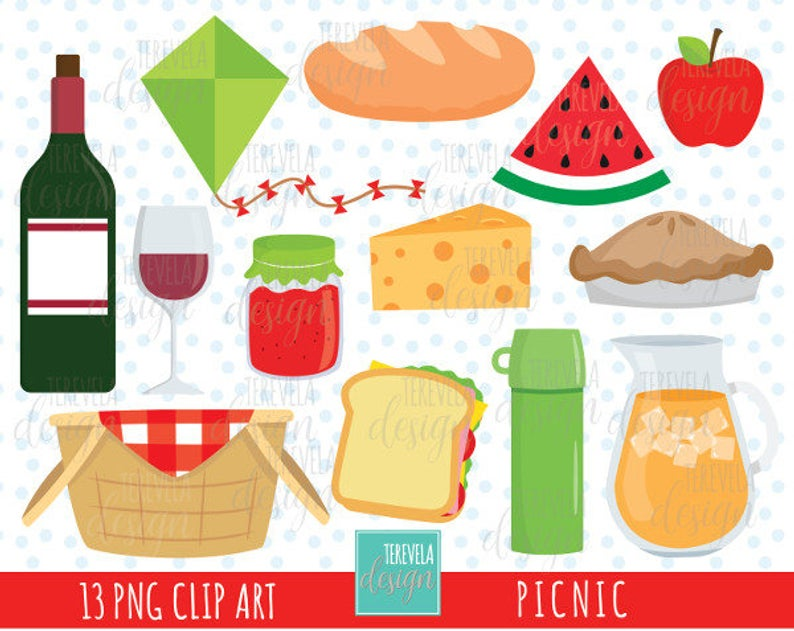 80% SALE PICNIC clipart, picnic party clipart, commercial use, cute  graphics, drinks clipart, food, fruits clipart, lunch clipart, wine.