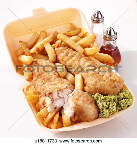 Stock Photo of Takeaway Fish And Chips With Mushy Peas u18811733.