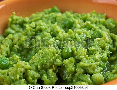 Stock Photo of bowl of mushy peas, Britain's tradizionale food.