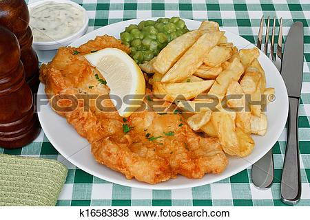 Pictures of fish and chips with mushy peas k16583838.