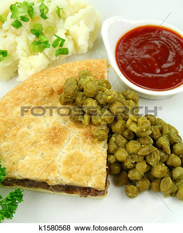 Pictures of Meat Pie With Mushy Peas k1580568.