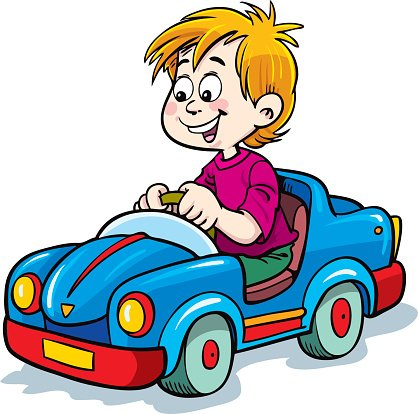 Boy driving a car Clipart Image.