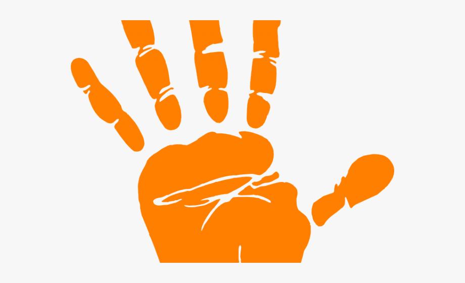 Orange Handprint Cliparts.