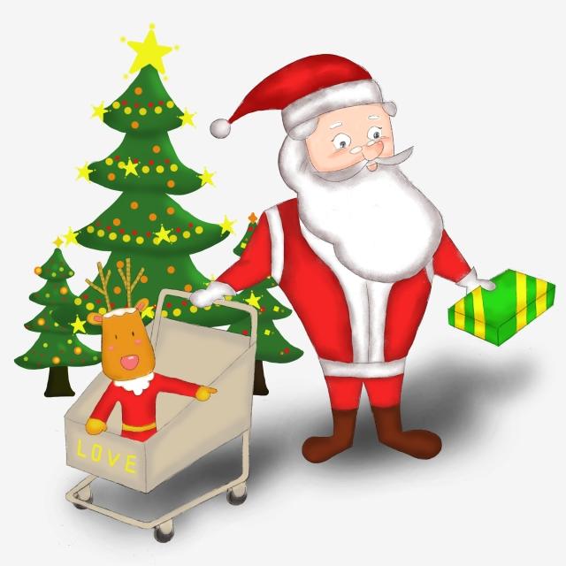Santa Claus Reindeer Christmas Tree, Tree Clipart, Santa Clipart.