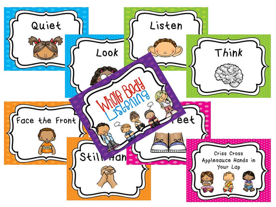 9 Laminated Whole Body LIstening Posters. Full Page Classroom.