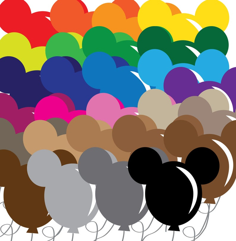 Disney Clipart, Balloons, Disney Balloons, Balloon Clipart, Clipart,  Scrapbook, Scrapbooking, Disney Scrapbook, Clipart Printable, Digital.