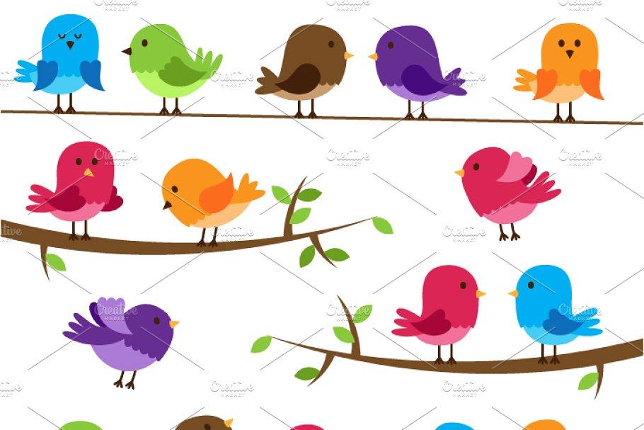 Cute Birds Clipart and Vectors.