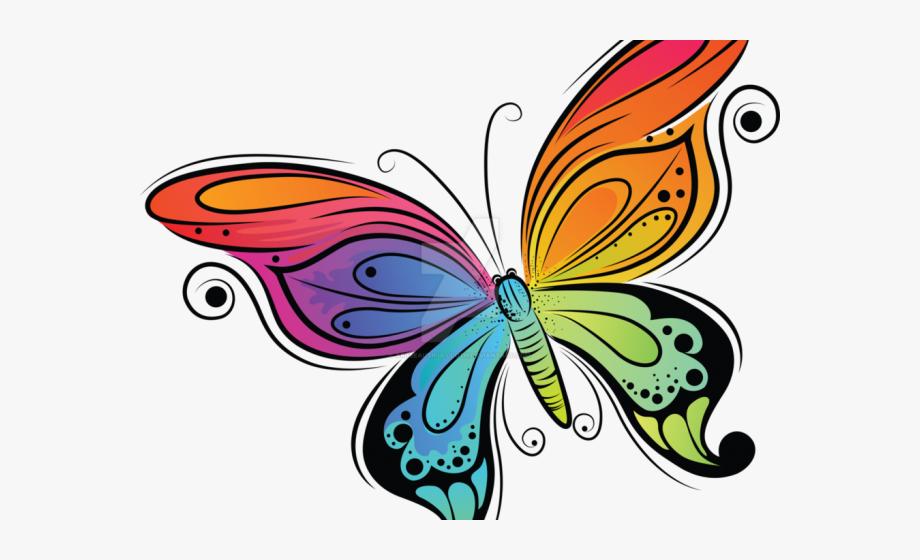 Rainbow Butterfly Clipart Cute.