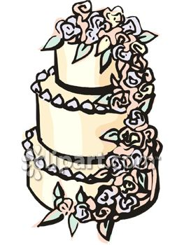 Wedding Cake With Roses Cascading Down The Side Of It.