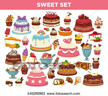 Cakes and cupcakes pastry desserts vector set Clipart.