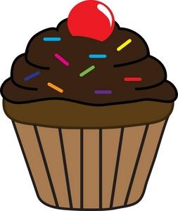 Cartoon Chocolate Cupcake Clipart.