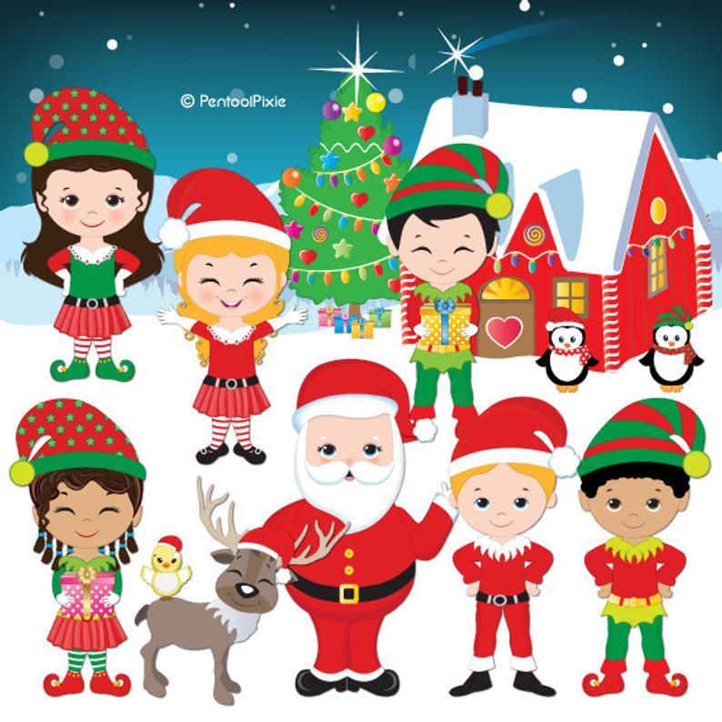 Christmas clipart, Santa's elves clipart, Cute elf clipart, Elves clipart,  Digital clipart.