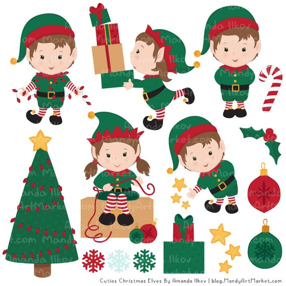 Cute Christmas Elves & Christmas Patterns.