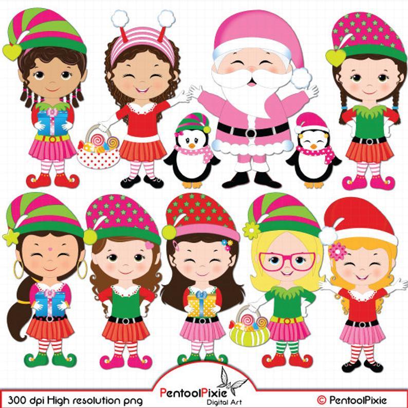 Santa's elves clipart, Elf Girls clipart, Christmas clipart, Cute elf  clipart, Elves clipart, Digital clipart, Christmas girls clipart.