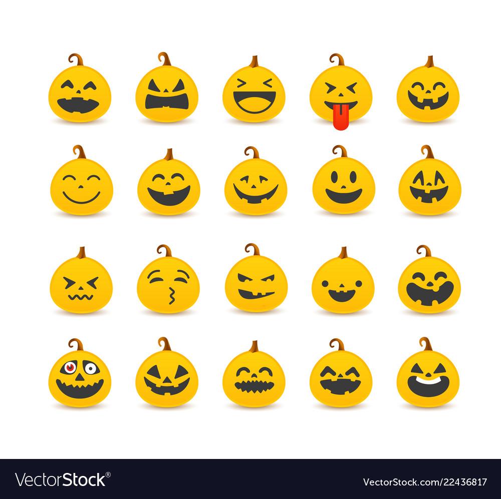 Different pumpkin faces set clipart.