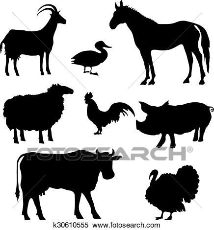 Farm Animals Silhouettes Clipart.