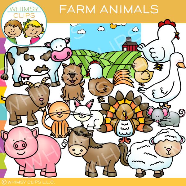 Cute Farm Animals Clip Art.