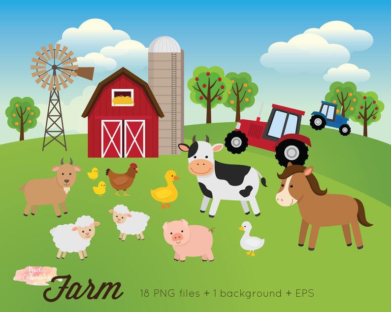 BUY 2 GET 1 FREE Farm Animals Clipart.