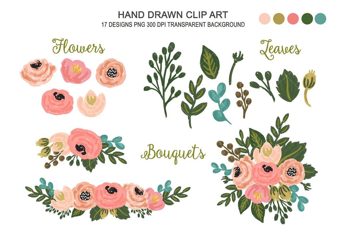 Wedding Floral Clipart Flower Art.
