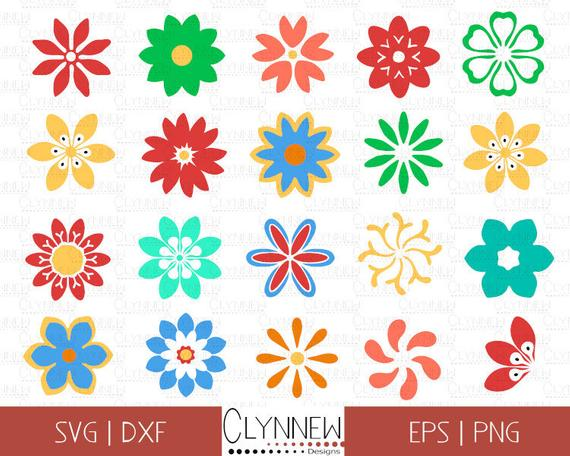 Flower SVG Clipart, Flat Flower Vector Silhouette Designs, Simple Cut  Files, Geometric Floral Designs for Vinyl Cutting, Download, Png, Dxf.