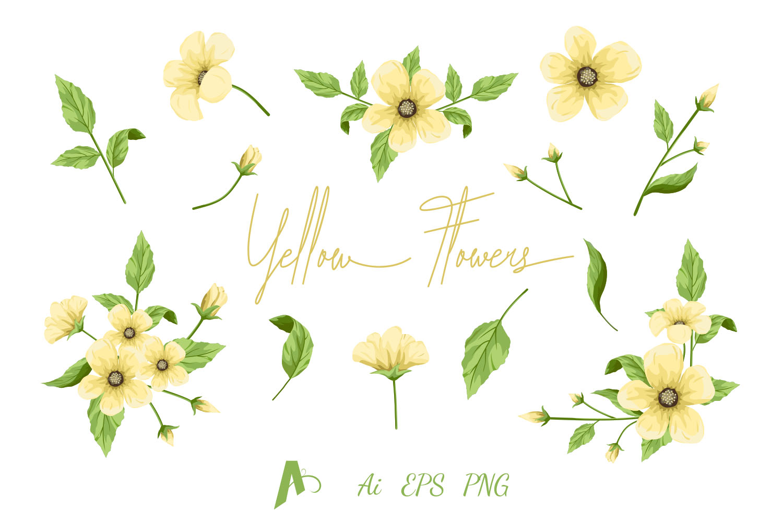 Flowers Clipart, Yellow Flowers Set, Floral Design Elements..
