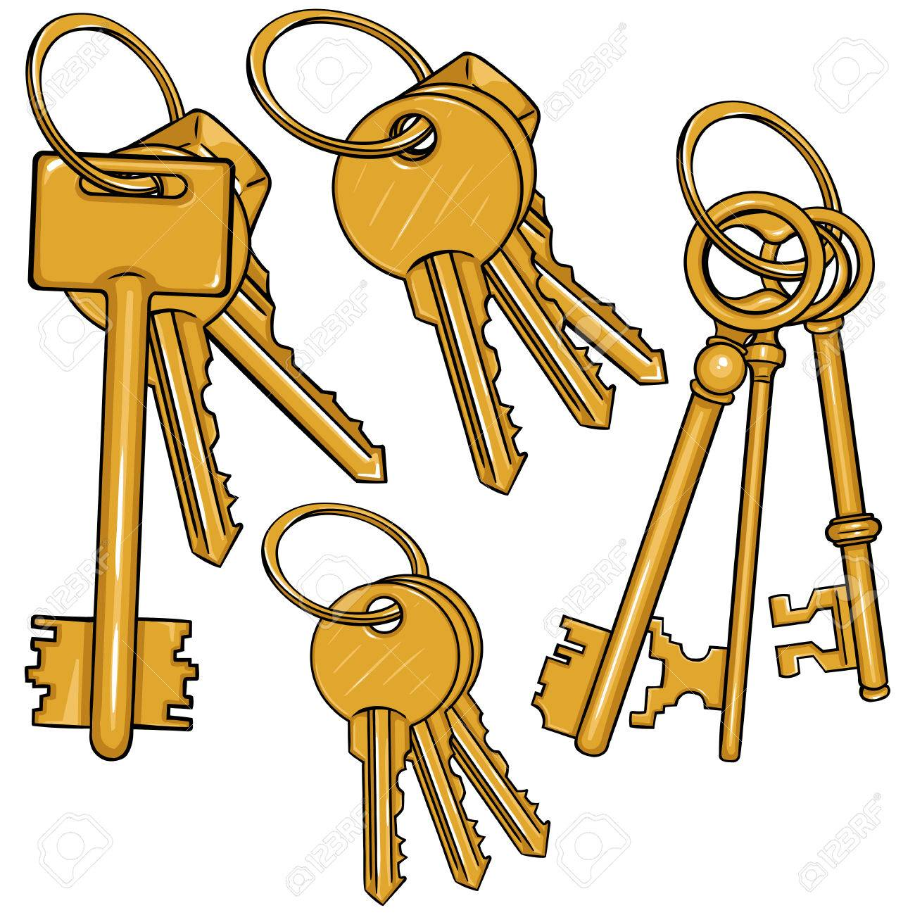 Vector Set Cartoon Bunches of Keys on White Background.