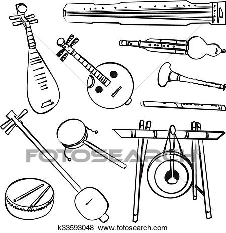 Chinese traditional musical instruments Clip Art.