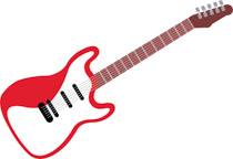 Red color electrical guitar musical instruments clipart » Clipart.