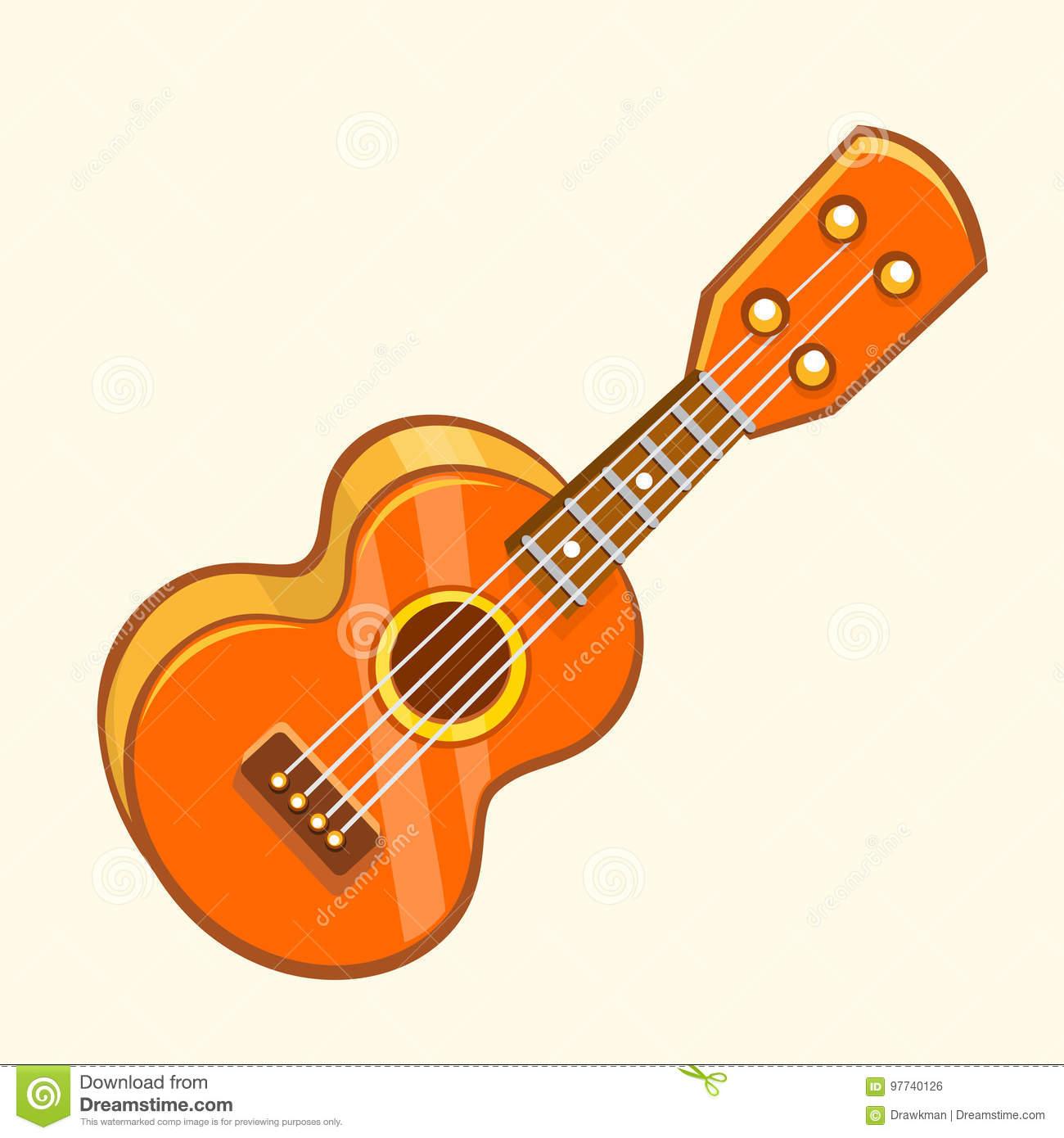 Cartoon Vector Illustration Of Acoustic Guitar Or Ukulele. Cartoon.