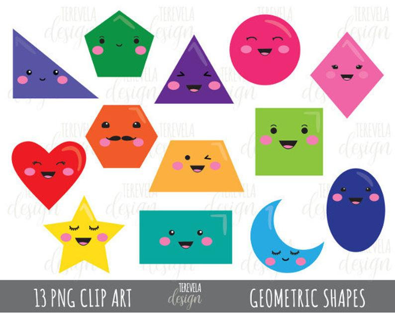 50% sale GEOMETRIC SHAPES clipart, commercial use, fun clipart, kawaii  clipart, kawaii geometric shapes clipart, shapes clipart, 2D shapes.