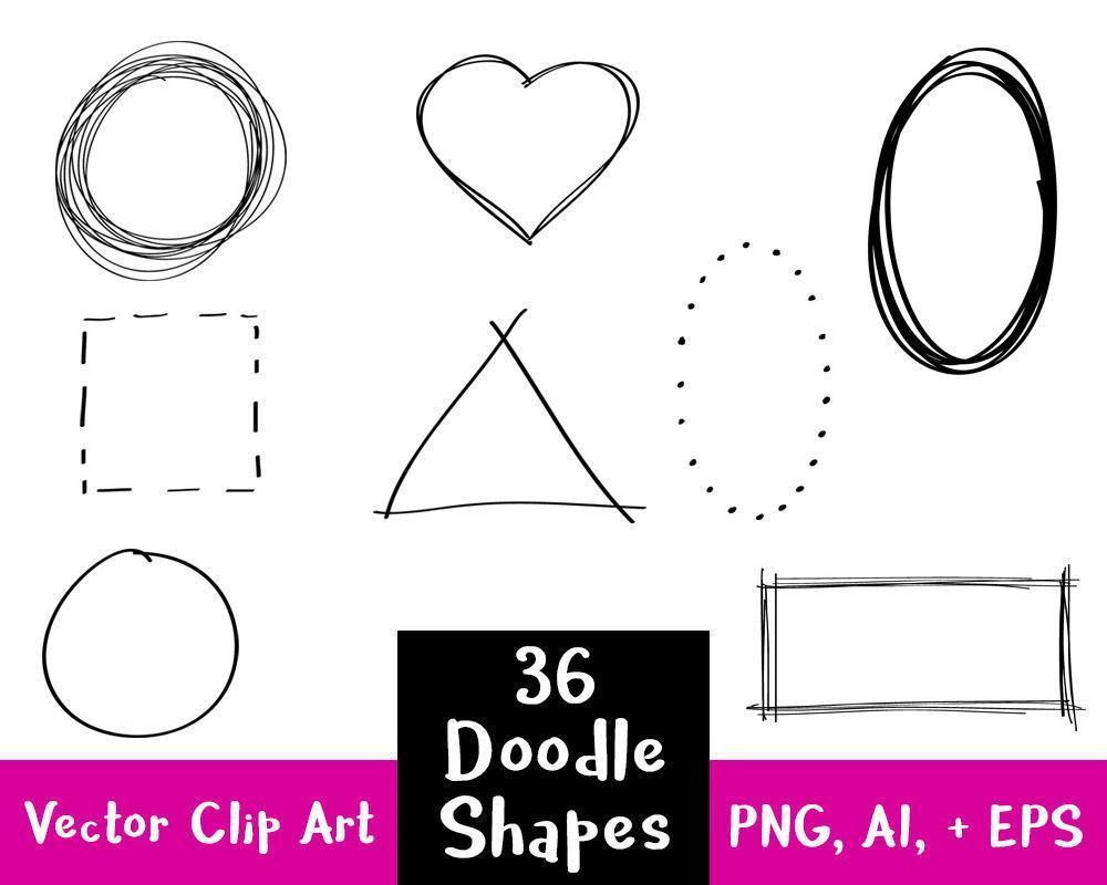 36 Doodle Clipart Shapes Clipart.