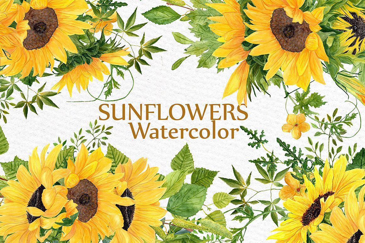 Sunflower clipart Watercolor Wreath.