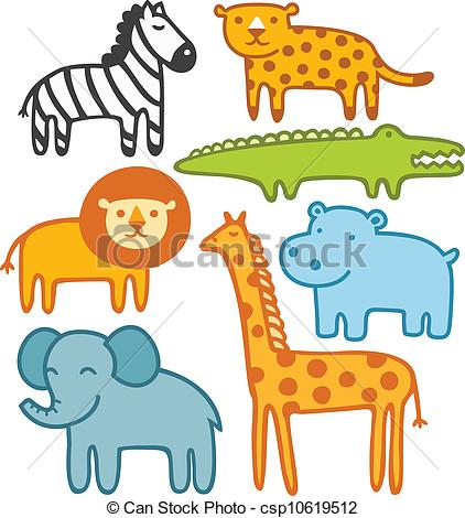 Wild animals vector illustration set.
