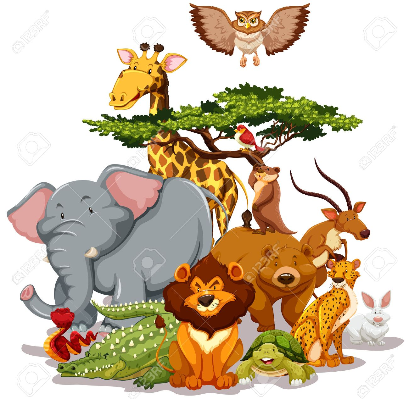 Group of wild animals gathering near a tree.