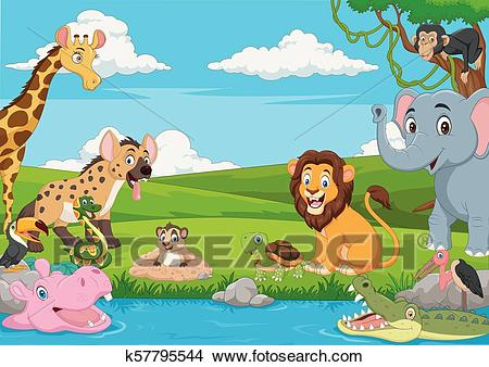 Cartoon African landscape with wild animals Clipart.