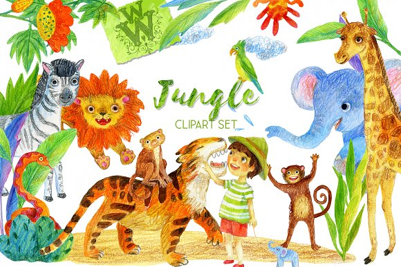Jungle wild animal clipart.