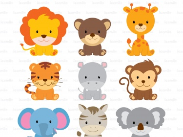 Cute Wild Animals Digital Clipart.