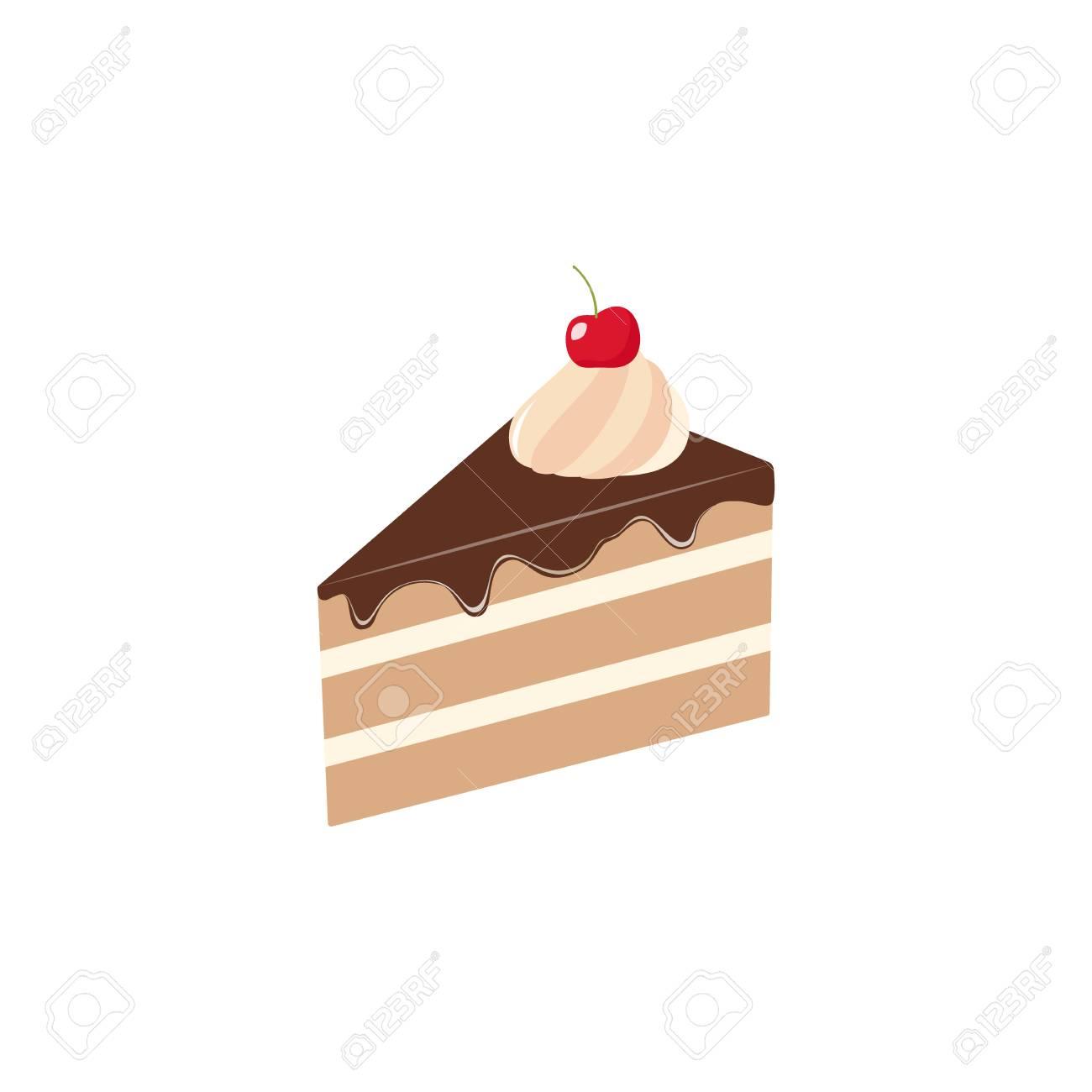 Sliced piece of chocolate cake vector clipart cartoon. Piece...
