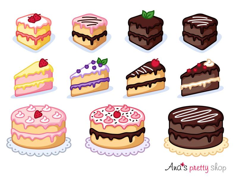 Cake clipart, piece of cake clipart, bakery clipart, pastry clipart, sweet  clipart, dessert clipart, vector graphics.