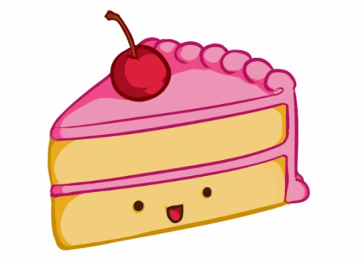 How to Draw a Kawaii (Cute) Cake Slice.